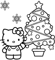 kitty show beautiful christmas trees coloring pages