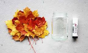 Decorating With Fall Leaves - simple fall decorating idea transforms glass jars into charming