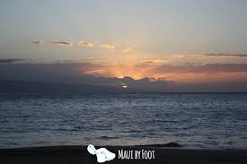 where is the black sand beach sunset at kaanapali beach and black rock maui by foot