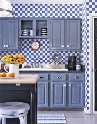 entrancing blue color kitchen cabinets with grey color granite
