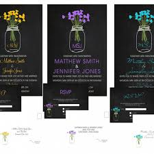 wedding invitations mason jar chalkboard 10 invitations 10 rsvp