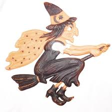 flying witch halloween decoration large flying witch on broom german cardboard die cut halloween