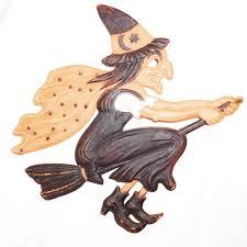 large flying witch on broom german cardboard die cut halloween