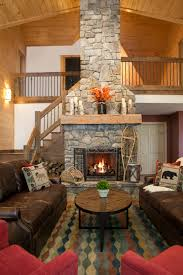 lake house great room and stone fireplace the good home