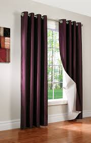 Plum Faux Silk Curtains Miller Faux Silk Insulated Grommet Panel Thermalogic