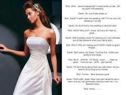 wedding dress captions from the inanimate tf