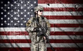 Army Ranger Flag Us Soldier With Rifle On Usa Flag Background Stock Photo Picture