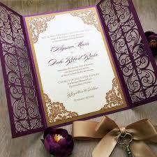 purple and gold wedding invitations alyssa gold and plum laser cut wedding invitation purple
