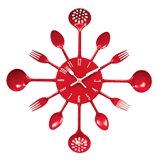 premier housewares cutlery wall clock red amazon co uk kitchen
