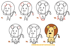 how to draw cartoon lion from the word easy step by step drawing