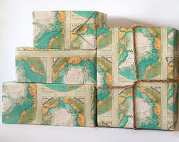 turquoise wrapping paper map wrapping paper etsy