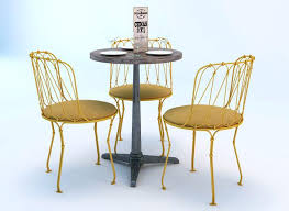 Iron Bistro Table Set Bistro Table And Chair Set 3d Model Cafe Table Setting Ideas