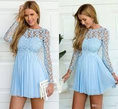 sky blue long sleeve crochet tulle skater short prom homecoming