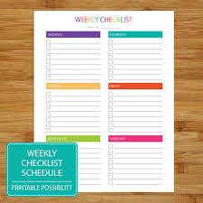 weekly checklist printable weekly checklist brights