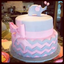 baby shower cake pink gray elephant chevron bows frosted
