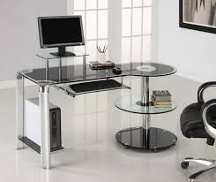 Long Computer Desk by Geo Glass Small Smoked Black Glass Laptop Desk Sized To Fit