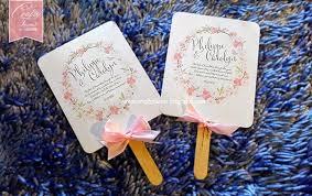 Paper Fan Wedding Programs Wedding Card Malaysia Crafty Farms Handmade Pink Floral Wreath