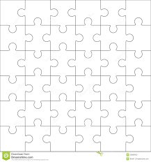 jigsaw puzzle blank template 36 pieces stock vector image 55885603