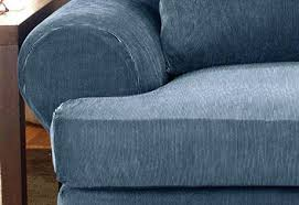 sure fit denim sofa slipcover sure fit stretch pinstripe 2 piece t cushion sofa slipcover for