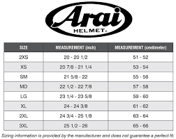 motocross bike sizes arai sizing charts seacoast sport cycle