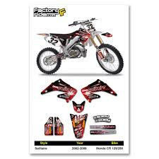honda motocross gear 2002 2008 honda cr 125 250 solitaire motocross graphics decal by