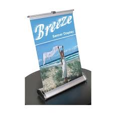 table banners and signs breeze retractable tabletop banner stand display for trade shows