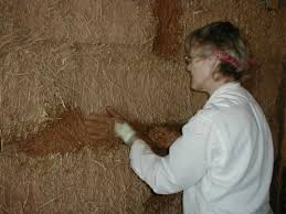 straw bale building adobe plaster interior part 1