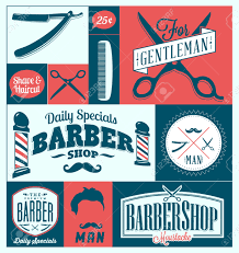set of vintage barber shop graphics and icons royalty free