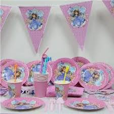61pcs lot cartoon sofia princess paper plate cup napkin banner