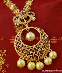 beautiful pearl cz necklace set gold plated south indian jewelry