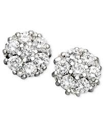 stud diamond earrings diamond flower cluster stud earrings in 14k white gold 1 2 ct