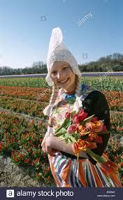 Netherlands Tulip Fields Bulb Fields Dressed In Dutch Costume In Tulip Fields Lisse