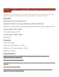Seeking Dallas Resume Cv Obgyn Physician Seeking Dallas Or Houston Pract