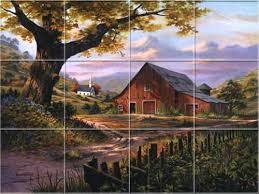ceramic tile murals for kitchen backsplash country rustic farm sunday s best kitchen backsplash tile murals