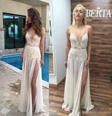 Informal Wedding Dresses 2017 Beach Wedding Dresses Lace Appliques Deep V Neck Open