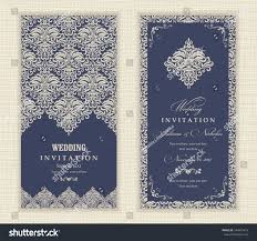 Beautiful Invitation Cards Wedding Invitation Cards Vintagestyle Blue Beige Stock Vector