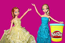 frozen elsa barbie play doh ball gown prom dress anna frozen dance