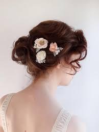 bridesmaid hair accessories bridal hair flower hair pins blush flower ivory flower