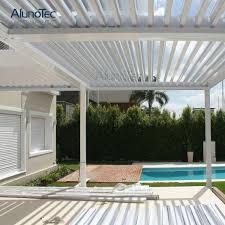 pergola motorized aluminum roof sun shading louver waterproof