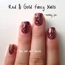red and gold fancy nails naildawdle