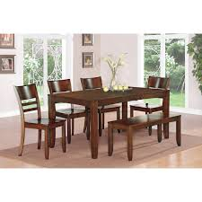 Rectangle Kitchen Table With Bench East West Furniture Lyfd6 Esp W Lynfield 6 Piece Espresso Dining