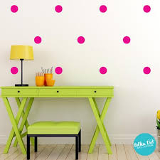 yellow with pink polka dots pink polka dot wall decals peel and stick polka dot wall stickers