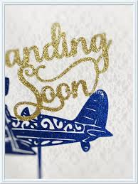 landing soon cake topper baby shower cake topper airplane
