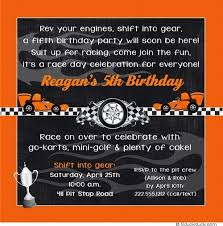 cars 5th birthday invitation zippy orange u0026 black little