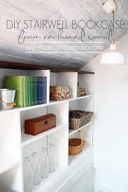 Bookcase In Wall Diy Stairwell Bookcase From Reclaimed Wood Maison De Pax