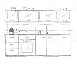 hand drawn kitchen furniture vector illustration in sketch style