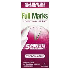 full marks head lice solution spray 150ml amazon co uk health