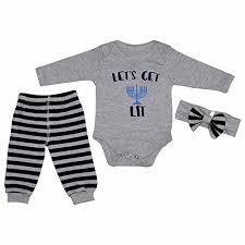 hanukkah apparel unique baby lets get lit hanukkah layette set wit 2017