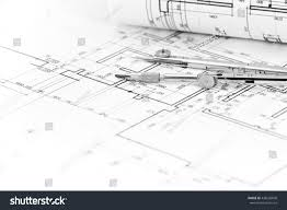 architectural background plan blueprint roll drawing stock photo
