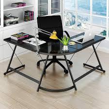 Pc On Desk Or Floor Amazon Com Lecrozz L Shaped Home Office Corner Desk Kitchen U0026 Dining